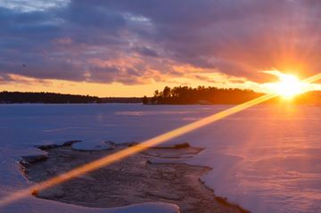 For only seconds Milford Bay was covered in frozen colour with a dramatic sunset on Saturday, Apr. 5. on Lake Muskoka.