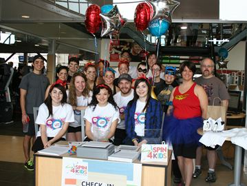 Participants of 'Spin4Kids' event at Mississauga Meadowvale GoodLife Fitness Saturday morning.