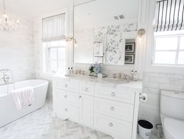 Bathroom flooring sets the stage for everything else in the room. So, if you're going to splurge, this is the place to do it!