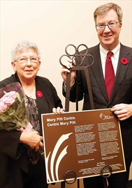 Former Nepean mayor Mary Pitt , left, for whom the building at 100 Constellation Cres. was named at a ceremony on Nov. 8 with Mayor Jim Watson. Pitt is a lifelong community leader who served as the last and only female mayor of Nepean, from 1997 to 2000.