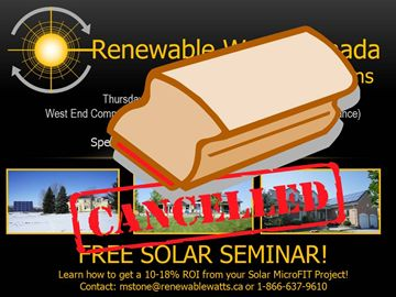 CANCELLED:  Solar MicroFIT with Renewable Watts Canada