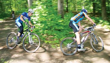 Mountain bike racing at the Mountainview Ski Hills in Midland.