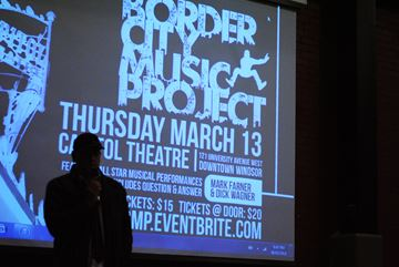 Director John Gillies discusses Border City Music Project at the Walkerville Brewery March 6.