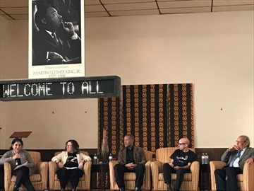 Panelists speaking on the subject of hate in Hamilton were, from left: Judith Moses Dworkin, Ruth Greenspan, Yasin Dwyer, Cole Gately, and Rama Singh.