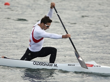 Mark Oldershaw begins his Olympic run with a win in the first semi-final in the 1000 metre canoe event  at the London 2012 Olympic Games at the Eton Dorney  in London.  August 6, 2012
