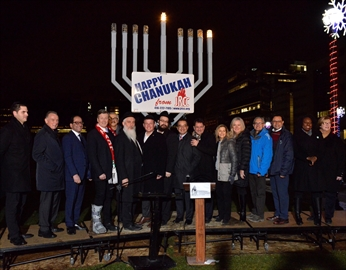 A 13-foot menorah was lit Dec. 2 in North York's Mel Lastman Square to celebrate the start of Hanukkah. The menorah is part of the Jewish Russian Community Centre's festivities.