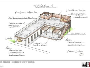 Kentucky Bourbon & Chicken rendering shows the proposed design for the new restaurant and bar.