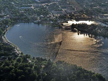 Little Lake fountain aerial view