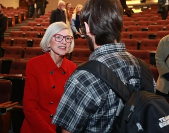 Beverley McLachlin, Chief Justice of the Supreme Court of Canada, speaks with members of the audience the second annual Francis Forbes law lecture at Memorial University of Newfoundland in St. John's on Thursday, October 19, 2017. Canada's top judge says access to justice for poor and marginalized citizens is the biggest challenge to the legal system. Nothing is more precious than a person's liberty, Chief Justice Beverley McLachlin told a public lecture at Memorial University in St John's, N.L., on Thursday. THE CANADIAN PRESS/Paul Daly