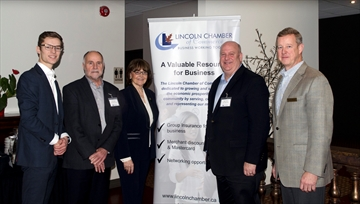 The Lincoln Chamber of Commerce held its annual politicians breakfast Friday morning, giving local politicians at the municipal, regional, provincial and federal levels a chance to update residents on government activities and answer questions from the business crowd in attendance. In the photo, from left: MPP Sam Oosterhoff, regional coun. Bill Hodgson, mayor Sandra Easton, MP Dean Allison and the chamber's David Brown.