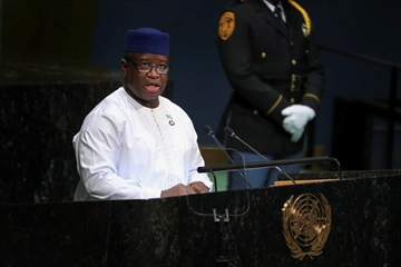 In this file photo, Julius Maada Bio, president of Sierra Leone, speaks at the 73rd United Nations General Assembly at the United Nations headquarters in New York, Sept. 27, 2018. Amid growing outrage over the rape of a 5-year-old girl, the president of Sierra Leone declared sexual violence a national emergency, vowing that sex with minors would be punishable by life in prison.
