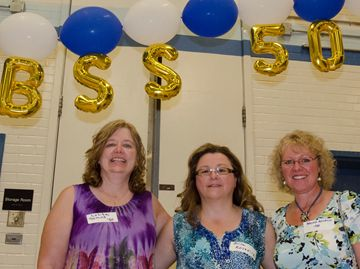 Classmates Lolita Semos, Mira Kosevich, and Brenda Pederson, from the class of 1980, at the Bramalea SS 50th anniversary reunion on June 1. Mira and Brenda had not seen each other for 31 years.