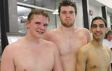 The top three male finishers in the Goulbourn Seahawks recent annual swimathon are, from left, Robert Clarke, Matthew Hayward and Hunter Dunlop.