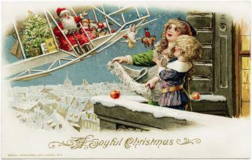 Santa on biplane