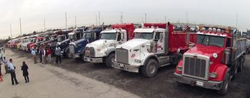 Dump truckers protest