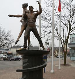 Statue in front of downtown theatre