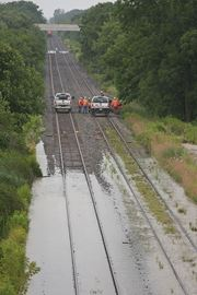Flooding forces shutdown of rail line