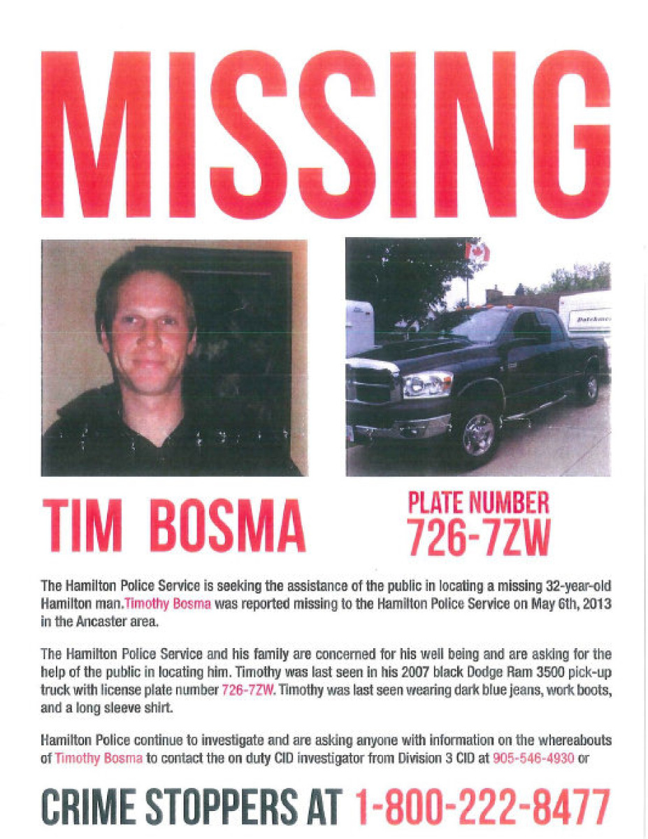 Crime Stoppers Missing Person Poster For Tim Bosma.  Missing Person Posters