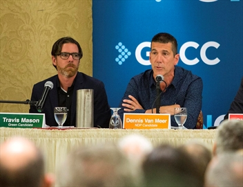 The Greater Niagara Chamber of Commerce held its St. Catharines debate Monday evening at the Holiday Inn & Suites Parkway Conference Centre. Green Party candidate Travis Mason, the NDP's Dennis Van Meer, Liberal incumbent Chris BIttle, People's Party Allan deRoo and Conservative candidate Krystina Waler.