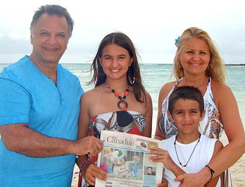 Tony, Sabrina, Bianca and Nicolas Bachan on vacation at the Mayan Riviera, Mexico.