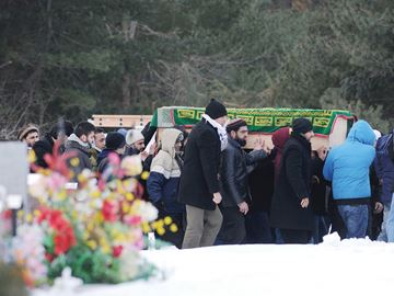 AJAX -- A group of mourners carried the casket of Shabir Niazi to his burial site at Pine Ridge Memorial Gardens. Mr. Niazi, 22, was shot and killed in the garage of a home on Roosevelt Avenue in Ajax on Wednesday, Feb. 19. February 24, 2014.
