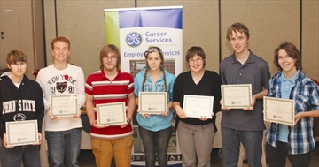 Career Services pilot program Summerwork$ provided eight weeks of work for the following students, left to right, Tristan Paterson, Stephen Samson, Adam Countryman, Kelsey Cooney, Sandi Mercier, Greg Hill and Brittany Stanford. Missing from the photo is Melissa Turner.