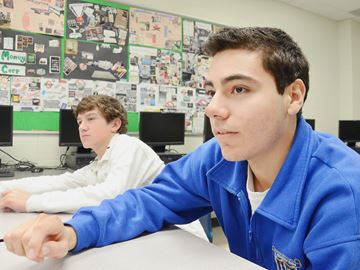Patrick Servideo, 15, is enrolled in the Grade 10 financial literacy class at St. Maximilian Kolbe Catholic High School.