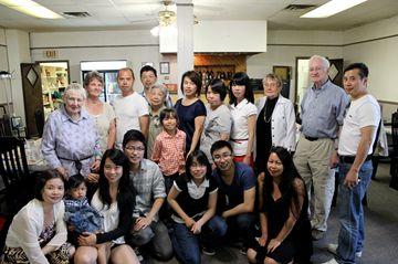 From back left: Pamella Magann, Doris Whittaker, Bil Chau, Wu Giang, Mai, Hung, Yo, Joan Demick and Jeromme Morel  along with the rest of the Chau family celebrated and shared memories with each other at the Boston Cafe in Parry Sound on June 22.