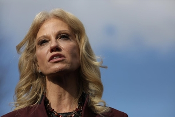 Kellyanne Conway, counselor to U.S. President Donald Trump, speaks to the press outside the West Wing of the White House January 8, 2019 in Washington, DC.