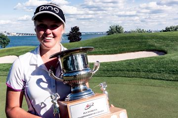 Brooke Henderson with her PGA Canadian Women's Championship trophy