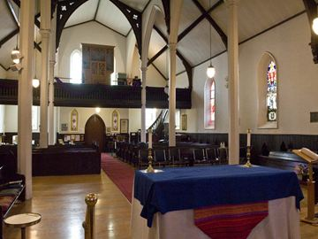 An interior view looking towards the rear of Christ Anglican Church.