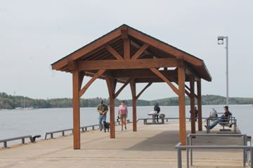The new gazebo at the end of The Town Dock constructed by Cedarland Homes.