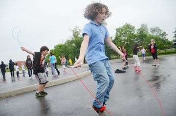 Michael Furlano, 10 (right) and Noah Zebic, 11, Jump rope.