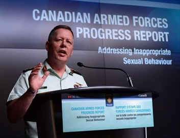 Jonathan Vance, the Chief of the Defence Staff speaks during a Canadian Armed Forces press conference at the National Defence Headquarters in Ottawa on Friday, April 28, 2017, addressing inappropriate sexual behaviour in the forces. The Defence Department says more than two dozen service members have been kicked out of the military so far this year for inappropriate sexual behaviour, with dozens of other cases still under review.THE CANADIAN PRESS/Sean Kilpatrick