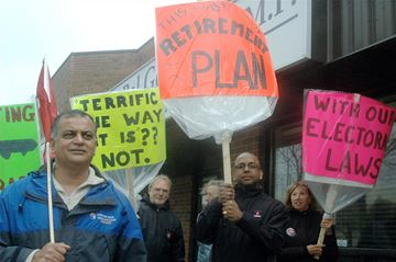 Brampton April 22 to rally against proposed changes to Canada's Elections Act.