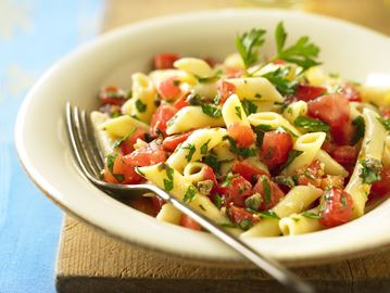 Pasta with fresh tomato caper sauce a nice, light dinner