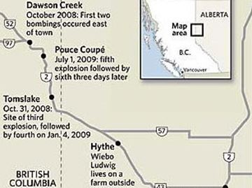 EnCana pipeline bomb sites - 2008