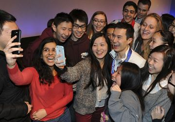 Olympic silver medalist Patrick Chan makes a visit to  Earl Haig Secondary School Friday.