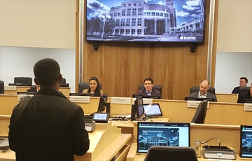 A Brampton resident delegates to Mayor Patrick Brown and members of Brampton council duringa regional governance town hall in council chambers at city hall on Saturday (May 4).