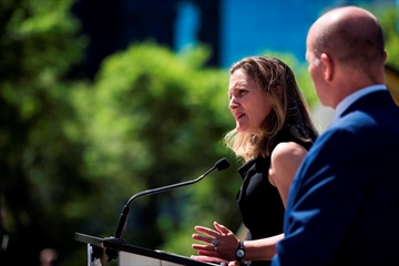 Foreign Affairs Minister Chrystia Freeland speaks at a press conference in Vancouver, B.C. on Monday, August 6, 2018 as MP Randy Boissonnault looks on. THE CANADIAN PRESS/Jimmy Jeong