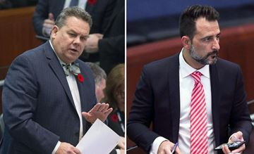 Councillors Mark Grimes, left, seen in a Nov. 7, 2017, file photo, and Justin Di Ciano, seen in a March 26, 2018, file photo.