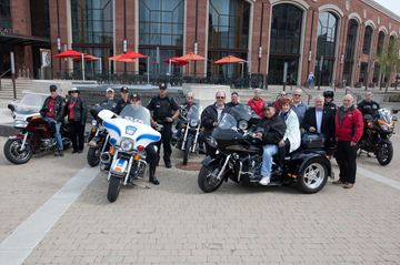 Motorcycle Mondays Photo by Bryon Johnson Members of the Brampton Motorcycle Association, Peel Regional Police, and City Council, all bike enthusiasts, promote the upcoming Bike Night in downtown Brampton.