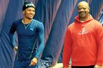 Andre De Grasse with former coach Tony Sharpe