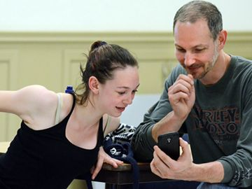 Dancer Jasmine Bentivoglio and her dad, David, check out his video recording of her audition for the Stouffville has Talent show. Auditions were May 6 and 7 at Latcham Hall.