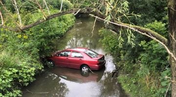 A car went off the roadway and into a Brampton creek on Friday, Sept. 6.