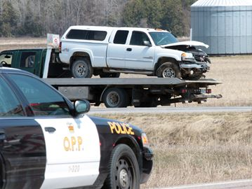 Highway 89 east of the 10 Sideroad in Alliston was reduced to one lane following a multi-vehicle crash that happened around 12:30 p.m. Monday, April 21.