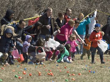 A mad dash from the sidelines marks the start of the 2014 Byron Optimist Club Easter Egg Hunt at Boler Mountin on Satutrday (April 19).