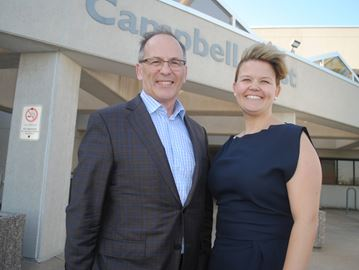 Metrolinx chief capital officer Gerry Chaput and communications and community relations director Erin Moroz were at regional headquarters on May 18 to update politicians on plans for GO Transit daily rail commuter service for Niagara.Paul Forsyth/Staff Photo