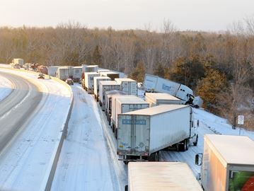 NORTHUMBERLAND - One person was injured when several tractor-trailers were involved in a series of collisions on Hwy. 401 eastbound between Cobourg and Grafton around 3:30 a.m. Feb. 26. Photo taken from the Danforth overpass. Feb. 26, 2014