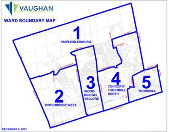 Ward map for City of Vaughan